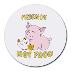 Friends Not Food   Cute Pig And Chicken Round Mousepads by Valentinaart