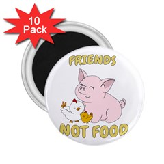 Friends Not Food   Cute Pig And Chicken 2 25  Magnets (10 Pack)  by Valentinaart
