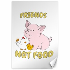 Friends Not Food   Cute Pig And Chicken Canvas 12  X 18   by Valentinaart