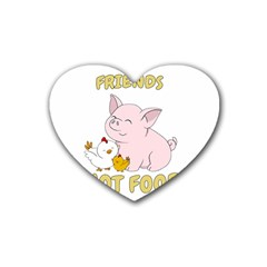 Friends Not Food   Cute Pig And Chicken Rubber Coaster (heart)