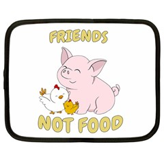 Friends Not Food   Cute Pig And Chicken Netbook Case (large) by Valentinaart