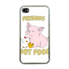 Friends Not Food   Cute Pig And Chicken Apple Iphone 4 Case (clear)