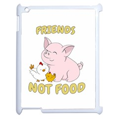 Friends Not Food   Cute Pig And Chicken Apple Ipad 2 Case (white) by Valentinaart