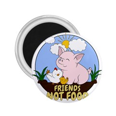 Friends Not Food   Cute Pig And Chicken 2 25  Magnets by Valentinaart