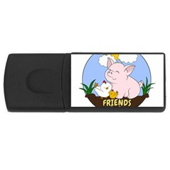 Friends Not Food - Cute Pig And Chicken Rectangular Usb Flash Drive by Valentinaart