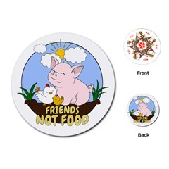 Friends Not Food   Cute Pig And Chicken Playing Cards (round)  by Valentinaart