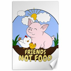 Friends Not Food   Cute Pig And Chicken Canvas 24  X 36  by Valentinaart