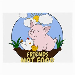 Friends Not Food   Cute Pig And Chicken Large Glasses Cloth by Valentinaart