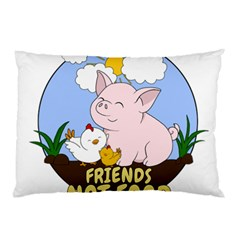 Friends Not Food   Cute Pig And Chicken Pillow Case by Valentinaart