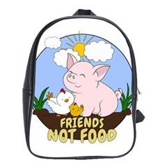 Friends Not Food   Cute Pig And Chicken School Bag (large) by Valentinaart