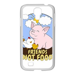 Friends Not Food   Cute Pig And Chicken Samsung Galaxy S4 I9500/ I9505 Case (white) by Valentinaart