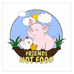 Friends Not Food   Cute Pig And Chicken Large Satin Scarf (square)