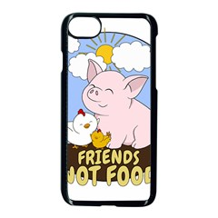Friends Not Food   Cute Pig And Chicken Apple Iphone 8 Seamless Case (black) by Valentinaart