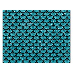 Scales3 Black Marble & Turquoise Glitter Rectangular Jigsaw Puzzl by trendistuff