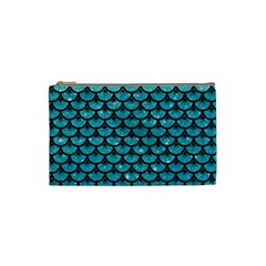 Scales3 Black Marble & Turquoise Glitter Cosmetic Bag (small)  by trendistuff