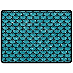 Scales3 Black Marble & Turquoise Glitter Fleece Blanket (large)  by trendistuff