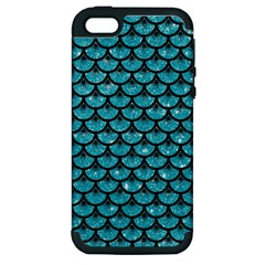 Scales3 Black Marble & Turquoise Glitter Apple Iphone 5 Hardshell Case (pc+silicone) by trendistuff