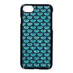 SCALES3 BLACK MARBLE & TURQUOISE GLITTER Apple iPhone 7 Seamless Case (Black) Front