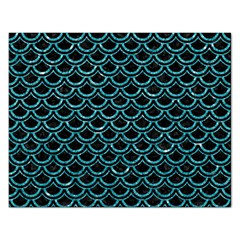 Scales2 Black Marble & Turquoise Glitter (r) Rectangular Jigsaw Puzzl by trendistuff