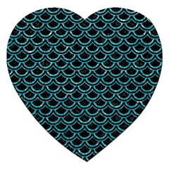 Scales2 Black Marble & Turquoise Glitter (r) Jigsaw Puzzle (heart)