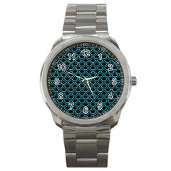 Scales2 Black Marble & Turquoise Glitter (r) Sport Metal Watch by trendistuff