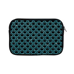 Scales2 Black Marble & Turquoise Glitter (r) Apple Ipad Mini Zipper Cases by trendistuff
