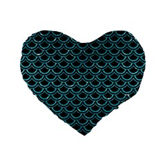 Scales2 Black Marble & Turquoise Glitter (r) Standard 16  Premium Flano Heart Shape Cushions by trendistuff