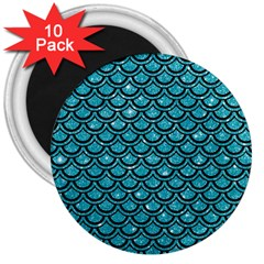 Scales2 Black Marble & Turquoise Glitter 3  Magnets (10 Pack)  by trendistuff