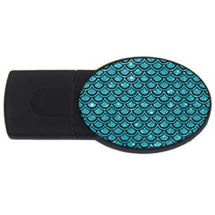 Scales2 Black Marble & Turquoise Glitter Usb Flash Drive Oval (2 Gb) by trendistuff