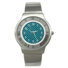 Scales2 Black Marble & Turquoise Glitter Stainless Steel Watch by trendistuff