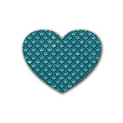 Scales2 Black Marble & Turquoise Glitter Rubber Coaster (heart)  by trendistuff