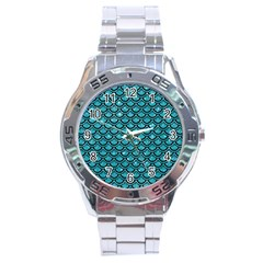 Scales2 Black Marble & Turquoise Glitter Stainless Steel Analogue Watch by trendistuff