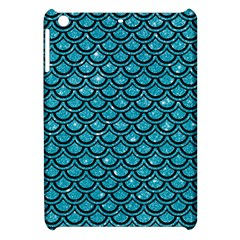 Scales2 Black Marble & Turquoise Glitter Apple Ipad Mini Hardshell Case by trendistuff