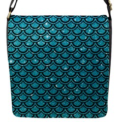 Scales2 Black Marble & Turquoise Glitter Flap Messenger Bag (s) by trendistuff