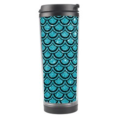 Scales2 Black Marble & Turquoise Glitter Travel Tumbler by trendistuff
