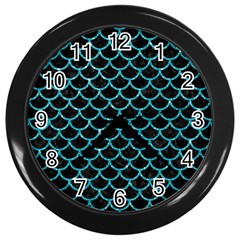 Scales1 Black Marble & Turquoise Glitter (r) Wall Clocks (black) by trendistuff