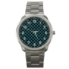 Scales1 Black Marble & Turquoise Glitter (r) Sport Metal Watch by trendistuff