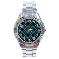 Scales1 Black Marble & Turquoise Glitter (r) Stainless Steel Analogue Watch by trendistuff