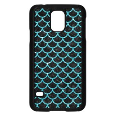 Scales1 Black Marble & Turquoise Glitter (r) Samsung Galaxy S5 Case (black) by trendistuff