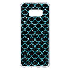 Scales1 Black Marble & Turquoise Glitter (r) Samsung Galaxy S8 Plus White Seamless Case by trendistuff