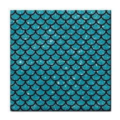 Scales1 Black Marble & Turquoise Glitter Tile Coasters by trendistuff