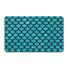 Scales1 Black Marble & Turquoise Glitter Magnet (rectangular) by trendistuff