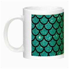 Scales1 Black Marble & Turquoise Glitter Night Luminous Mugs by trendistuff
