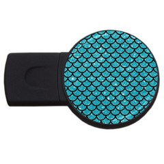 Scales1 Black Marble & Turquoise Glitter Usb Flash Drive Round (4 Gb) by trendistuff
