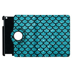 Scales1 Black Marble & Turquoise Glitter Apple Ipad 3/4 Flip 360 Case by trendistuff