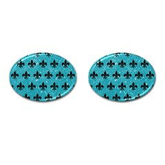 Royal1 Black Marble & Turquoise Glitter (r) Cufflinks (oval) by trendistuff
