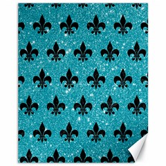 Royal1 Black Marble & Turquoise Glitter (r) Canvas 11  X 14   by trendistuff