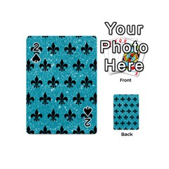 Royal1 Black Marble & Turquoise Glitter (r) Playing Cards 54 (mini)  by trendistuff
