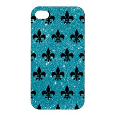 Royal1 Black Marble & Turquoise Glitter (r) Apple Iphone 4/4s Premium Hardshell Case by trendistuff