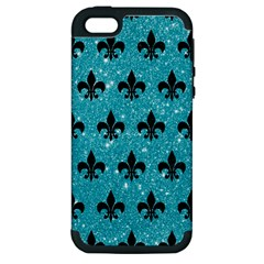 Royal1 Black Marble & Turquoise Glitter (r) Apple Iphone 5 Hardshell Case (pc+silicone) by trendistuff